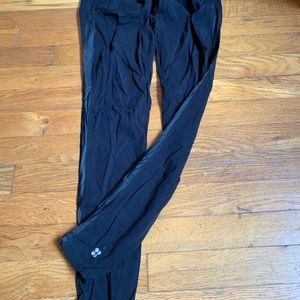 Sweaty Betty side stripe black leggings.